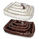 Smoothy Hundekorb aus Leder; Hunde-Körbchen; Hundebett für Luxus Vierbeiner; Beige-Weiß Größe L (106x74cm) - 4
