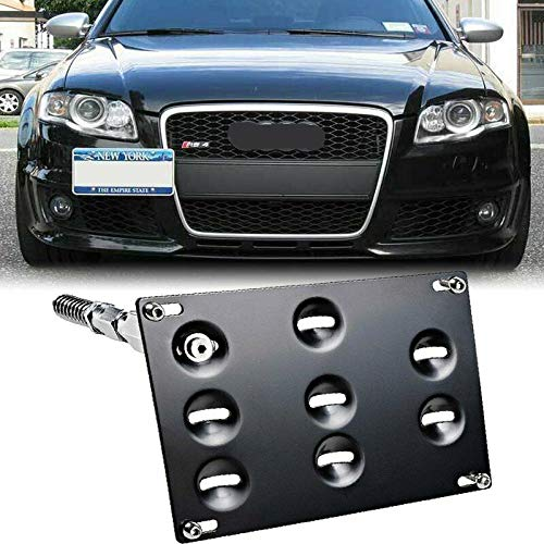 AXECO Front Bumper Tow Hook License Plate Bracket for Audi 08-15 A4 S4 B8 A5 S5 RS4 RS5, 11-15 A7 S7 RS7 Allroad Mounting Frame Relocator Holder