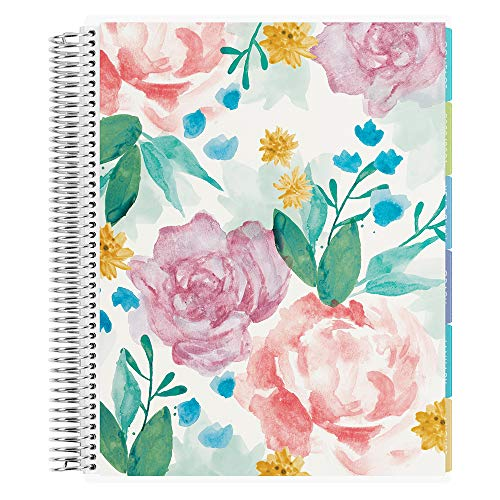 Erin Condren 12 - Month 2021 Teacher Lesson Planner 8.5x11 (January - December 2021) - Watercolor Blooms Cover with Kaleidoscope Interior Design with List of Subjects, Student Name List and Checklist