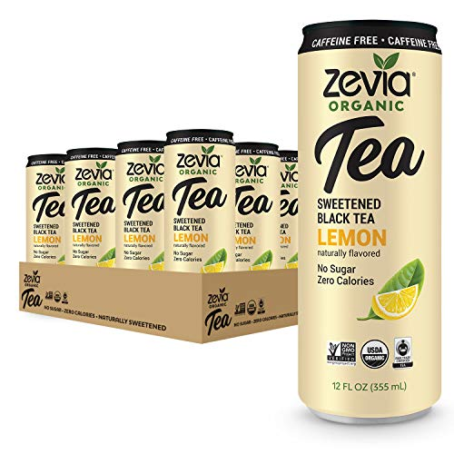 Zevia Caffeine Free Organic Black Tea Lemon, 12 Count, Sugar-Free Brewed Iced Tea Beverage, Naturally Sweetened with Stevia, Zero Calories, No Artificial Sweeteners