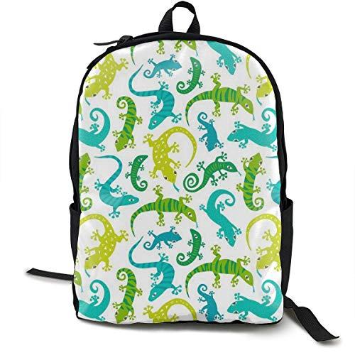 Lässige Backpck Big Capacity Anti-Theft Mehrzweck-Handgepäcktasche Rucksack für Gym Picknick Wandern Radfahren - Cute Echsen Tiere, Reisen & Camping Rucksack