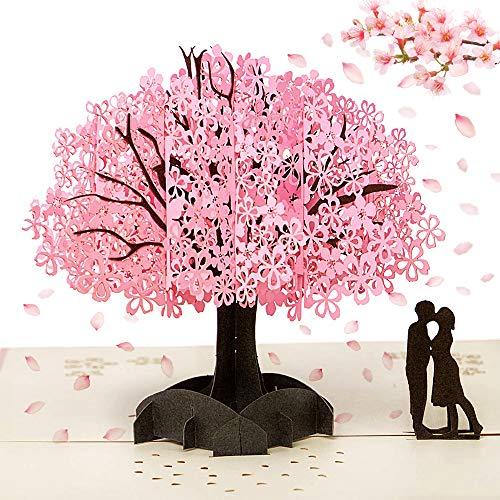 Pop Up Karte,3D GrußKarten Valentinstag,Hochzeitskarte Geburtstagskarte Karte Liebe,Kirschblüte 3D Cards Valentines Day Mit Umschlag Romantische GlüCkwunschkarte Für Frau, Freundin