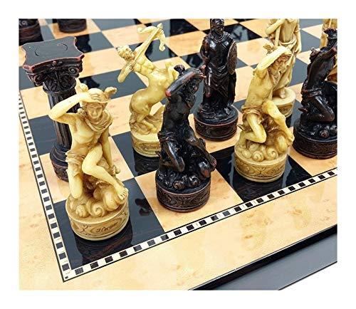 L.J.JZDY Schachbrett Griechische Götter Mythologie Set Schach-Männer-Stücke handgemalt