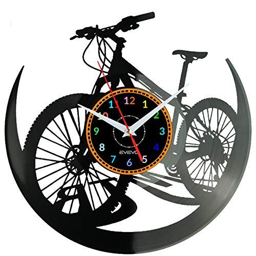 WoD Fahrrad Wanduhr Vinyl Schallplatte Retro-Uhr Handgefertigt Vintage-Geschenk Style Raum Home Dekorationen Tolles Geschenk Uhr Fahrrad