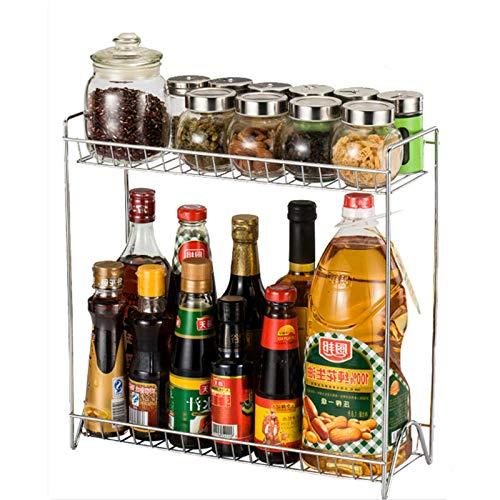 Lindhb Especiero Estante De Especias De 2 Niveles Organizador De Gabinete Soporte De Botella Estante De Torre De Mostrador De Cocina Organizador De Especias