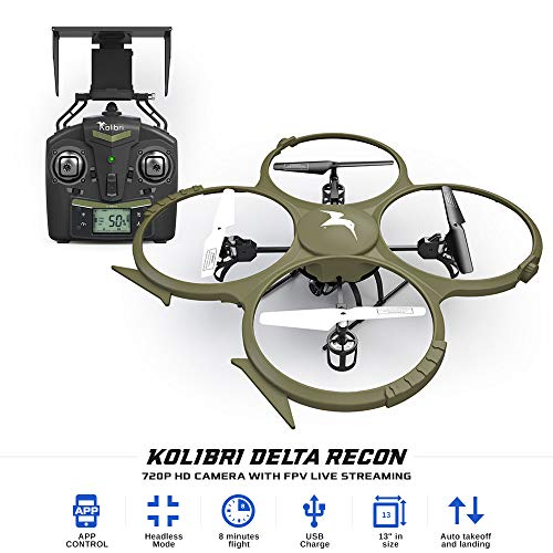 Kolibri Delta-Recon Quadcopter Drone for Kids & Adults, Wifi FPV App HD 720P Camera Live Video, Auto...