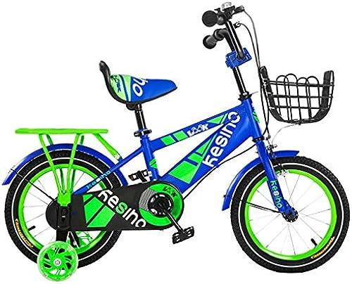 GAIQIN Langlebig Kinderfürrad für Jungen und mädchen 4-10 Jahre alt, H e gebremst, betriebssicher (mit Korb und Rücksitz) (Farbe   Blau, Größe   14inch)