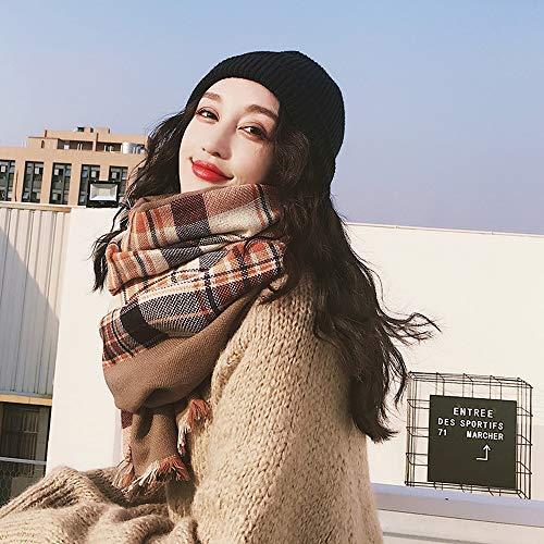 Yjdr Rectangular, Cuadrado de Las Bufandas de Las Mujeres de Lana Bufanda Caliente otoño e Invierno Engrosamiento Gran Capa marrón, Beige (Color : Marrón)