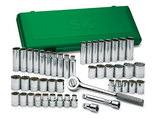 SK 4147 Super Set 47 Piece 1/2-Inch Drive 12 Point Standard and Deep Socket Set with 19 Piece 1/2-Inch to 1-1/8-Inch and 18 Piece 10-Millimeter to 19-Millimeter Socket Assortments