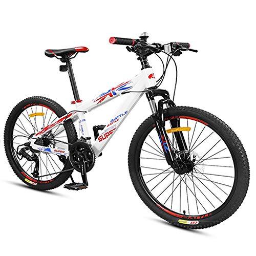 Xiaoyue Bikes Jungen Berg, Berg Trail Bikes mit Doppelscheibenbremse, Vorderradaufhängung Aluminium-Rahmen All Terrain Berg Fahrrad, Weiß, 24-Zoll-27-Speed lalay