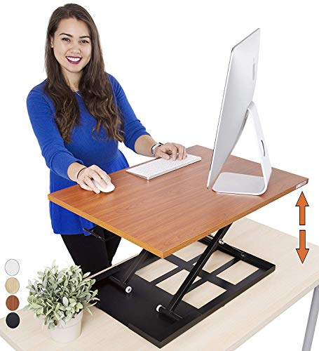 Standing Desk X-Elite - Stand Steady Standing Desk | X-Elite Pro Version, Instantly Convert Any Desk into a Sit/Stand up Desk, Height-Adjustable, Fully Assembled Desk Converter (Cherry) (28 inch)