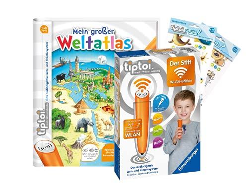 tiptoi Ravensburger Set: Mein großer Weltatlas (Kinderbuch) + 00036 Der Stift - WLAN-Edition + 2X Create-Sticker