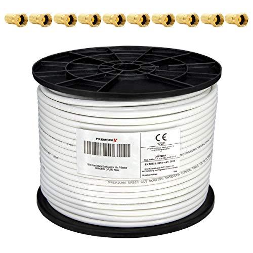 PremiumX 100m Koaxialkabel 135dB 4-Fach SAT Antennenkabel Koaxkabel für DVB-S / S2 DVB-C DVB-T BK Anlagen RG6 Satellitenkabel SAT-Kabel 10x F-Stecker 0,24 €/m