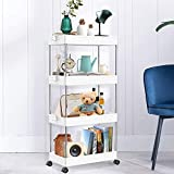 SNAPSHOPECOM 4 Tier Slim Storage Cart Mobile Shelving Unit Organizer Slide Out Storage Rolling Utility Cart Tower Rack for Kitchen Bathroom Laundry Narrow Places, Plastic & Stainless Steel