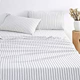 Wake In Cloud - White Striped Sheet Set, 100% Washed Cotton Bedding, Black Vertical Ticking Stripes Pattern (4pcs, Queen Size)