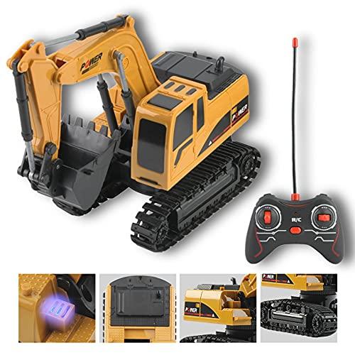 Ferngesteuert Bagger Spielzeug, 5-Kanal - 360 ° Drehen - LED - 1:24 Truckies Bagger Ferngesteuertes Technik Auto Sicherer Kunststoff RC Auto Montage LKW Spielzeug Geschenke für Kinder