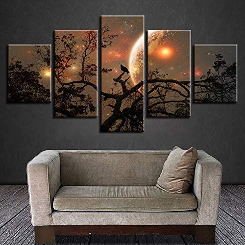 Canvas Foto Home Decoratie Print Poster Boom Vogel Schilderen Nebula Maan Abstract Landschap Muur Art Frameless 40 * 60 40 * 80 40 * 100