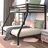 Allewie Metal Twin Over Full Bunk Beds Frame with Stairs & Full-Length Guardrail,Space-Saving,No Box Spring Needed,Noise Free,Black