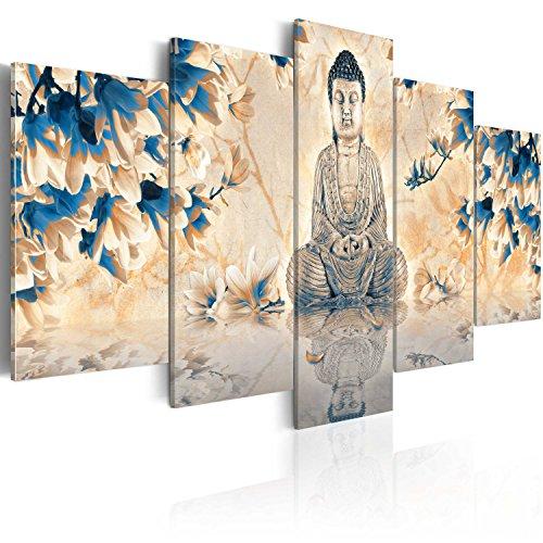 B&D XXL murando Impression sur Toile intissee 200x100 cm 5 Parties Tableau Tableaux Decoration Murale Photo Image Artistique Photographie Graphique Bouddha Zen 020113-243