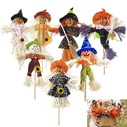 munloo 7 Piezas de Espantapájaros de Halloween, Espantapájaros de Decoración de Otoño Espantapájaros Pequeño para Acción de Gracias, Fiesta, Halloween, Jardín, Patio (Multi)