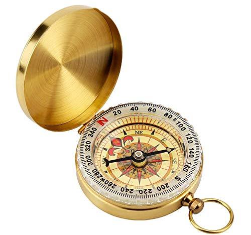 Vegena Kompass Outdoor,Messing Kompass Wandern,Portable Wasserdicht Kompass mit Leuchtziffern,Wasserdichter Taschenkompass für Camping Aktivitäten