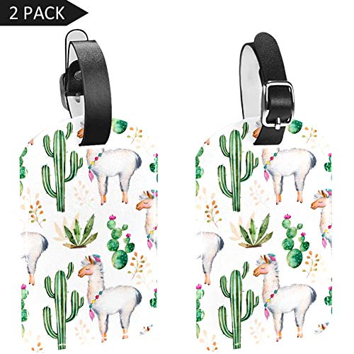 Cactus and Lama Luggage Tags Travel ID Baggage Suitcase Labels Bag Tag - Set of 2