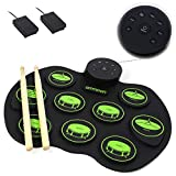 Honeytecs Portable Electronic Drum Set - Digital Roll-Up Touch Sensitive Practice Drum Kit 9 Drum Pads 2 Foot Pedals for Kids Children Beginners (No Speakers)