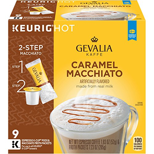 Gevalia Caramel Macchiato Espresso K-Cup Coffee Pods & Froth Packets (36 Pods and Froth Packets, 4 Packs of 9)