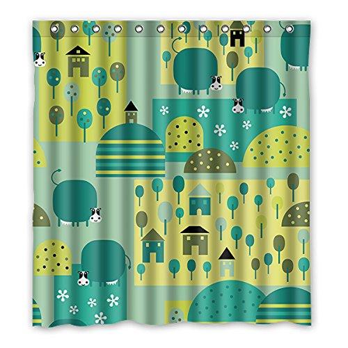 Einmal Young Cartoon Schweine Muster Custom Grau Wasserdicht Polyester-Badezimmer-Dusche Vorhang 167,6x 182,9cm (167cm x 183cm), Polyester, J, 168 x 183 cm