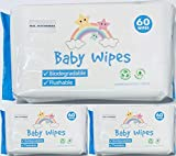 100% Biodegradable, Plastic Free Baby Wet Wipes Hypoallergenic Eco Friendly Compostable Flushable Dermatologically Tested | SOFT & GENTLE ON SKIN 180 Wet Wipes (3 Packs Of 60 Wipes)