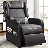 VITESSE Gaming Recliner Chair Racing Style Single Ergonomic Lounge Sofa Modern PU Leather Reclining Home Theater Seat for Living Gaming Room (Grey).