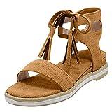 HULKY Sandales Femmes Plates, Chaussures Gland à Lacets et à Bout Ouvert Shoes,...