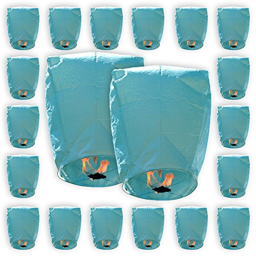Just Artifacts ECO Wire-Free Flying Chinese Sky Lanterns (Set of 20, Eclipse, Blue) - 100% Biodegradable, Environmentally Friendly Lanterns!