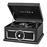Victrola 4-in-1 Nostalgic Plaza Bluetooth Record Player with 3-Speed Turntable and FM Radio, Black (VTA-810B-BLK)