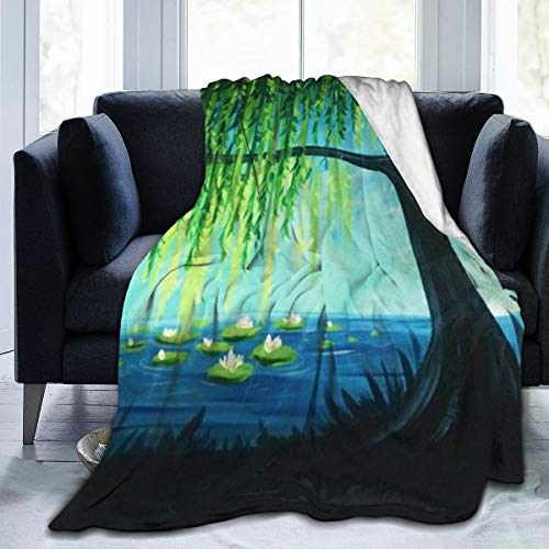 QINSDLF Ultra-Soft Micro Fleece Blanket for Mens Womens,Weeping Willow Tree Throw Blanket-Soft Coral Flannel Blanket Micro Fleece Blanket Give He Gifts-Soft Blanket Home Bed Blankets 80'' X60