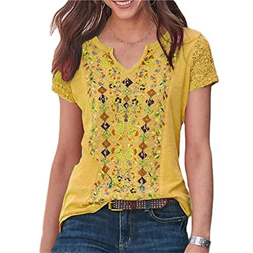 Elesoon Camiseta de verano para mujer, talla grande, bohemio, étnico, tribal, de encaje, hueco, raglán, manga corta, con cuello en V, camiseta, A-amarillo, 42