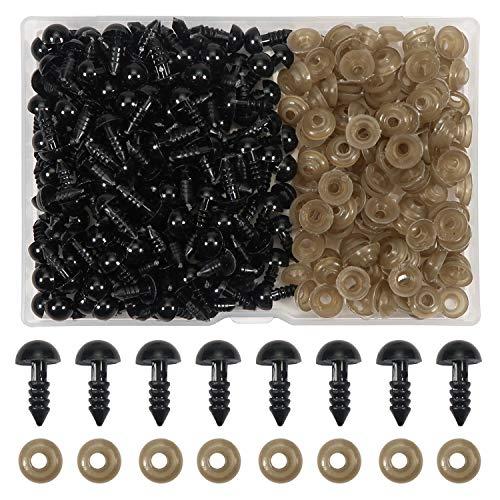 TOAOB 150 Piezas 8 mm de Ojos de Plástico Seguridad de Negro Plástic con Arandelas Ojos de Muñecas para Hacer Muñecas Manualidades de Crochet Tejer Animales