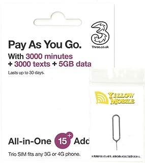 イギリスSIM Three 30日/データ5GB/通話3000分・他約60地域 データ5GB コミコミパック +YM SIMピンセット(日本語オリジナルマニュアル付)