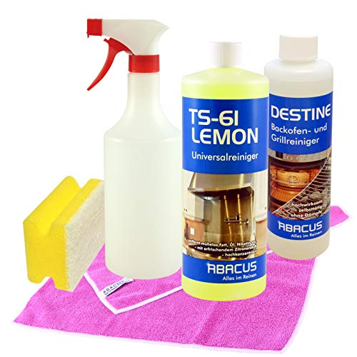 TS-61 LEMON & DESTINE Set - Küchenreinigungs-Set 1x 1000 ml TS-61 LEMON Universalreiniger Fettlöser + 1x 500 ml DESTINE Backofenreiniger Herdreiniger + sämtliches Zubehör