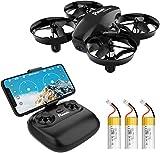 Potensic Mini Drone A20W avec Trois Batteries Longue Autonomie Drone avec Caméra HD WiFi FPV Avion Hélicoptère RC 2.4GHz 6 Axes Gyro Maintien d'altitude, Mode sans Tête pour Enfants et Débutants-Noir