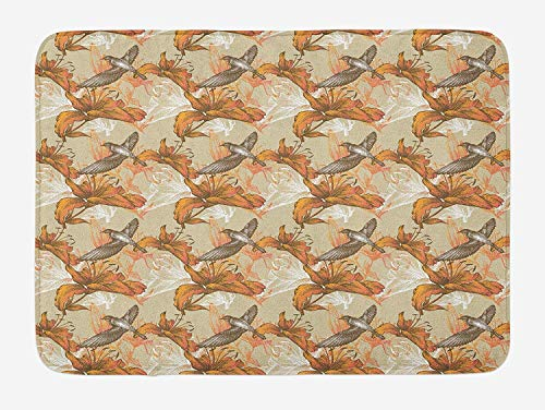 MSGDF Birds Bath Mat, Lilies and Flying Birds Romantic Flowers of Spring Season Valentines Day Sketch, Plush Bathroom Decor Mat with Non Slip Backing, 23.6 W X 15.7 W inches, Orange Brown Tan
