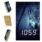 Lyetny Wolf Alarm Clock with USB Line Power Supply Desk Bedside Clocks