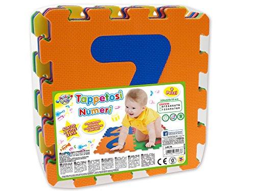Teorema 72463 - Tappetini Puzzle con Numeri, 9 Pezzi, Colori e Numeri Assortiti