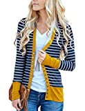 Basic Faith Women's V-Neck Solid Button Tops Long Sleeve Knit Casual Cardigans (3XL, A-Stripe Mustard)