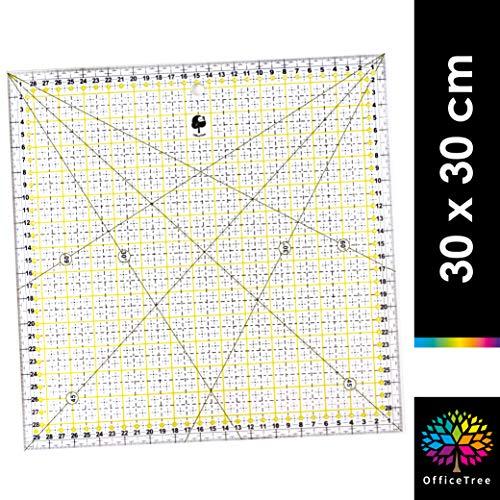 OfficeTree Schneiderlineal - 30 x 30 cm - Patchworklineal Lineal zum Nähen mit exakten Abmessungen und Zuschnitten