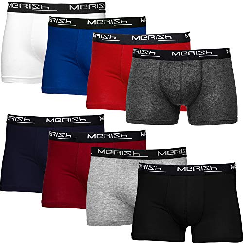 MERISH Boxer Hommes Lot de 8 Coton Microfibre sous-vêtement sans Couture Homme 216d L