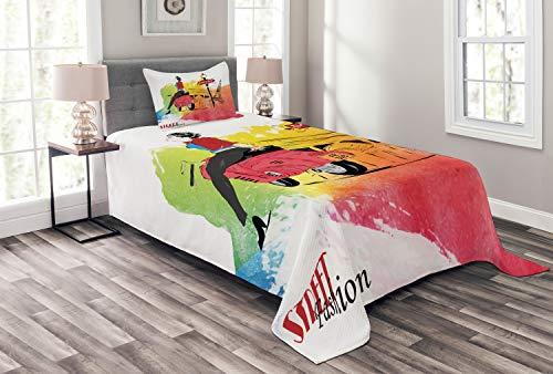 ABAKUHAUS rétro Couvre-Lit, Tour Street Fashion, Colors Qui ne s'estompent Pas, 170 x 220 cm, Orange et Rouge