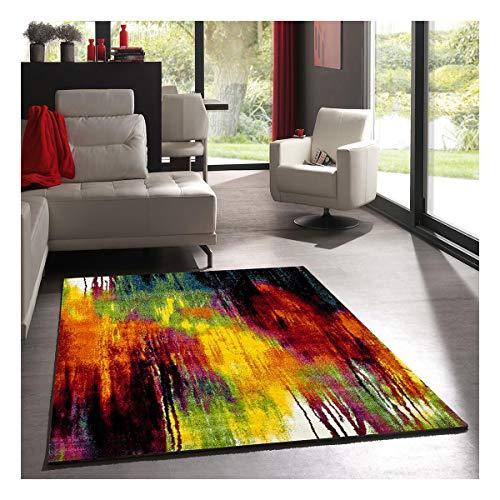 UN AMOUR DE TAPIS 140x140 Tapis Carré - Tapis Salon Moderne Design Graphique Poils Ras - Tapis Chambre Turquoise - Tapis Multicolore
