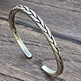 Braided Sterling Silver Thick Squarish Cuff Bracelet, Handmade Boho Ethnic Silver, Women or Men Bangle, Gift for Her or Him