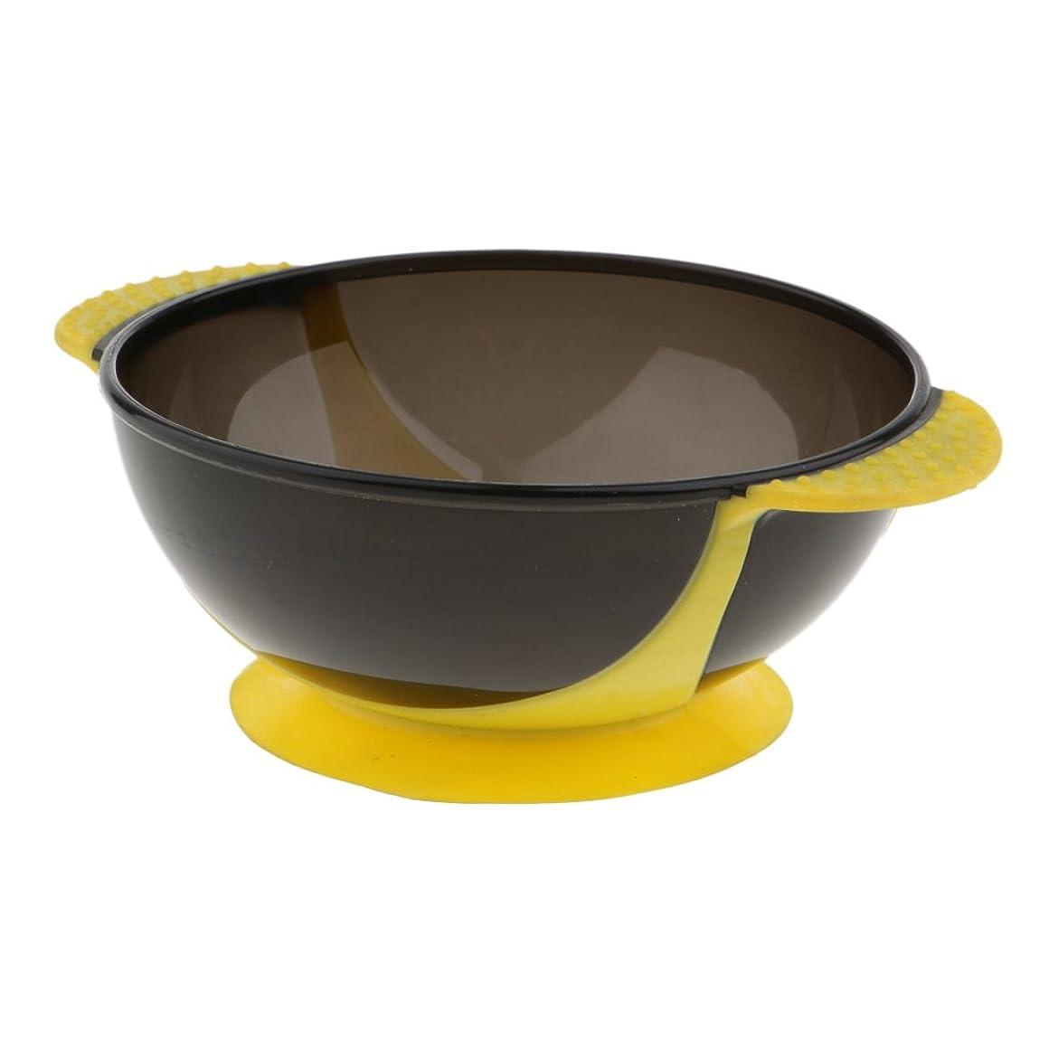 でも気絶させる器用ヘアダイボウル 髪染めボウル ヘアカラー ヘアカラーカップ 着色ツール 吸引ベース 実用性 全3色 - 黄